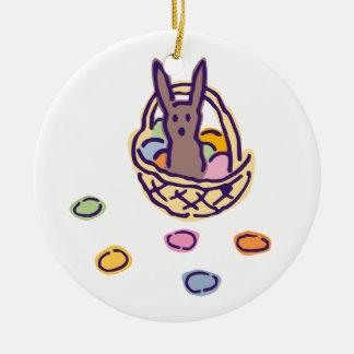 Ornement Rond En Céramique Panier heureux de lapin de Pâques Ghoulie