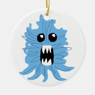 Ornement Rond En Céramique Papier d'emballage de monstre bleu