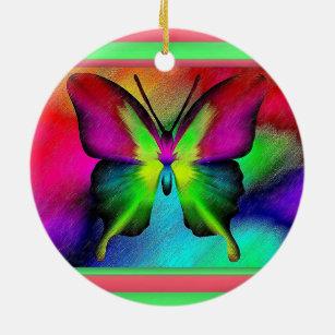 Ornement Rond En Céramique Papillon