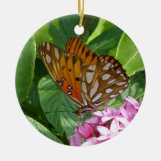 Ornement Rond En Céramique Papillon de passiflore