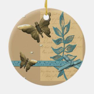 Ornement Rond En Céramique Papillon en métal de Steampunk