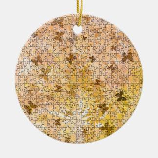 Ornement Rond En Céramique Papillons et Marguerite-Bruns de puzzle par