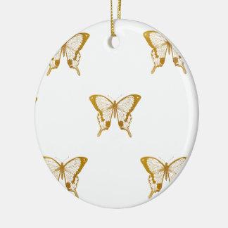 Ornement Rond En Céramique Papillons métalliques de feuille d'or sur le blanc