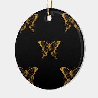 Ornement Rond En Céramique Papillons métalliques de feuille d'or sur le noir