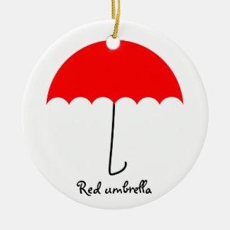 Ornement Rond En Céramique Parapluie rouge
