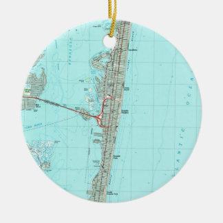 Ornement Rond En Céramique Parc de bord de la mer et rivage Map (1989) de NJ