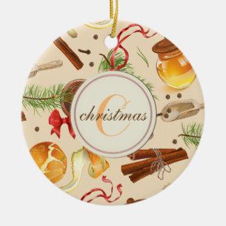 Ornement Rond En Céramique Parfums de cru de Noël