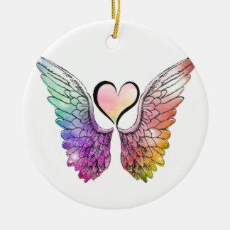 Ornement Rond En Céramique Part - ailes et coeur d'ange