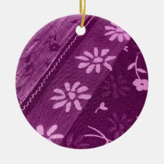 Ornement Rond En Céramique Partie de douche rose pourpre de vignes de fleurs