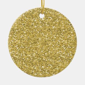 Ornement Rond En Céramique Parties scintillantes d'or de miroitement