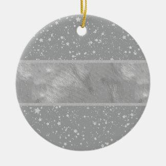 Ornement Rond En Céramique Parties scintillantes Stars4 - Argent