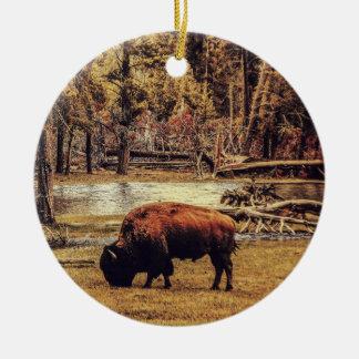 Ornement Rond En Céramique Pâturage de l'ornement de Buffalo