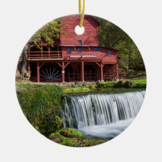 Ornement Rond En Céramique Paysage de moulin de Hodgson