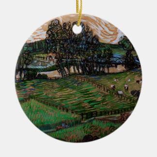 Ornement Rond En Céramique Paysage de Van Gogh avec le pont à travers l'Oise