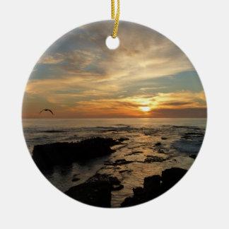 Ornement Rond En Céramique Paysage marin du coucher du soleil I la Californie