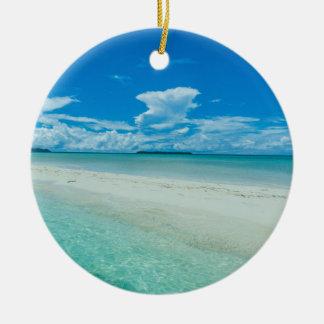 Ornement Rond En Céramique Paysage marin tropical bleu, Palaos