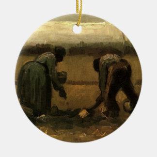 Ornement Rond En Céramique Paysan de Van Gogh et femme de paysan plantant la