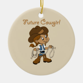 Ornement Rond En Céramique Peau foncée de future cow-girl quand je grandis