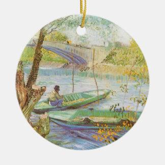 Ornement Rond En Céramique Pêche au printemps par Vincent van Gogh