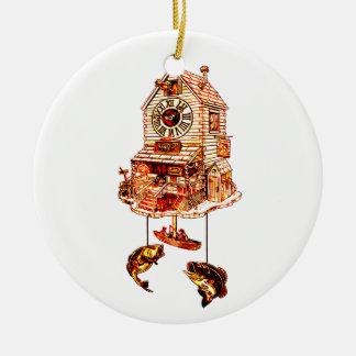 Ornement Rond En Céramique Pêche de l'horloge de coucou de loge