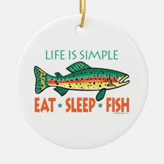 Ornement Rond En Céramique Pêche drôle