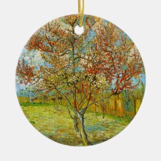 Ornement Rond En Céramique Pêcher rose de Van Gogh dans la fleur, beaux-arts