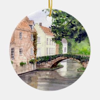 Ornement Rond En Céramique Peinture d'aquarelle de Bruges par Farida