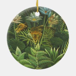 Ornement Rond En Céramique Peinture tropicale d'impression d'art de lion de
