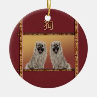 Ornement Rond En Céramique Pekingese année chinoise de conception asiatique