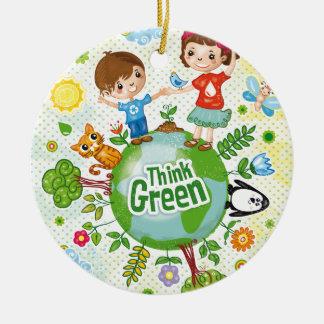 Ornement Rond En Céramique Pensez la citation heureuse de conscience verte