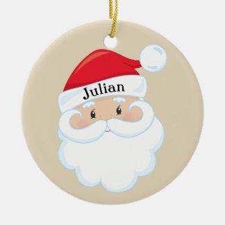 Ornement Rond En Céramique Père Noël font face avec le nom sur le casquette