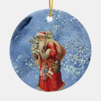 Ornement Rond En Céramique Père Noël nostalgique avec l'arrière - plan