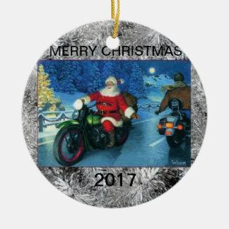 Ornement Rond En Céramique Père Noël sur l'ornement multi de Noël d'année de