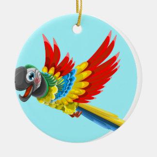 Ornement Rond En Céramique perroquet