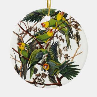 Ornement Rond En Céramique Perroquet de la Caroline - John James Audubon