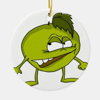 Ornement Rond En Céramique Personnage de dessin animé vert de pomme avec un