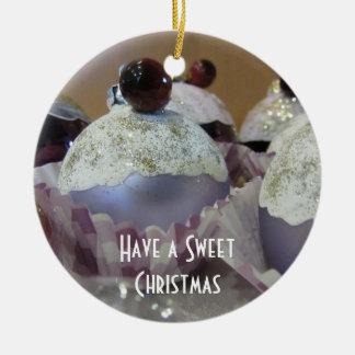 Ornement Rond En Céramique Petit gâteau de fantaisie de Noël