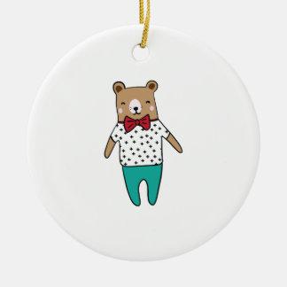 Ornement Rond En Céramique Petit ours mignon