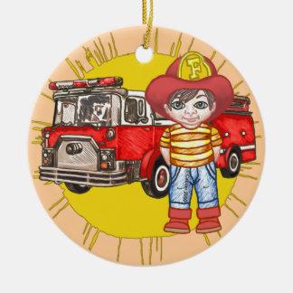 Ornement Rond En Céramique Petit sapeur-pompier
