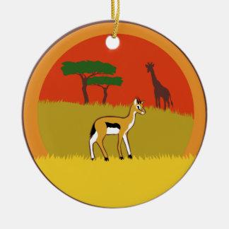 Ornement Rond En Céramique Petite gazelle