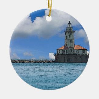 Ornement Rond En Céramique Phare de port de Chicago Painterly
