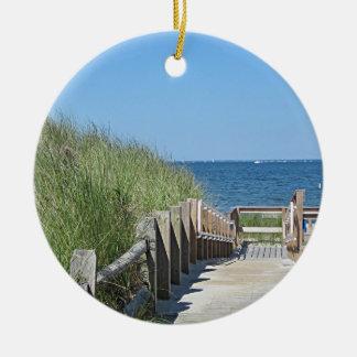 Ornement Rond En Céramique Photo de plage d'océan