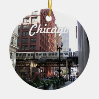 Ornement Rond En Céramique Photo de voyage de Chicago