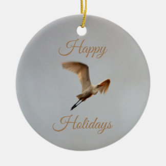Ornement Rond En Céramique Photo d'oiseau bonnes fêtes