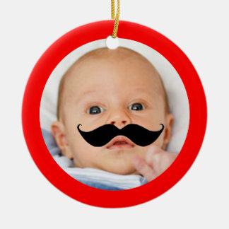 Ornement Rond En Céramique Photo drôle mignonne de bébé de moustache peu de