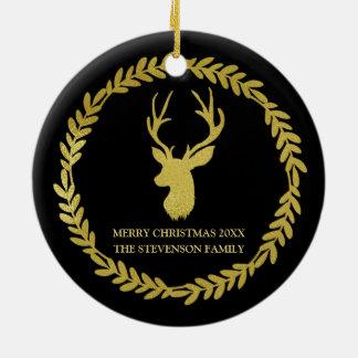 Ornement Rond En Céramique Photo noire de Noël de cerfs communs de guirlande