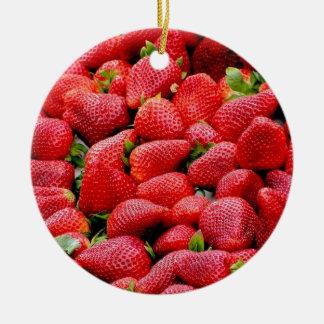 Ornement Rond En Céramique photographie rose foncée délicieuse de fraises