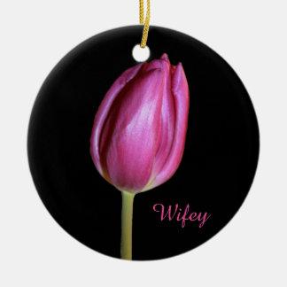 Ornement Rond En Céramique Photos florales de fleurs de tulipes de rose