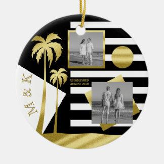 Ornement Rond En Céramique Photos tropicales d'Instagram de plage de palmiers