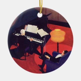 Ornement Rond En Céramique Pianiste vintage de pianiste de salon de musique